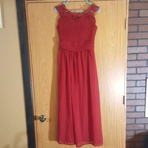 Cranberry Red Lace Prom Dress